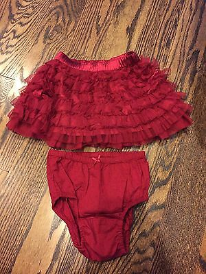 Baby Gap Girls HOLIDAY Red Ruffled Tulle Skirt W/ Bloomers (12-18 Mths) - EUC