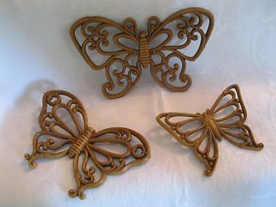 Vintage Home Interior Wall Decor Brown Butterflies 3 Different Sizes Resin