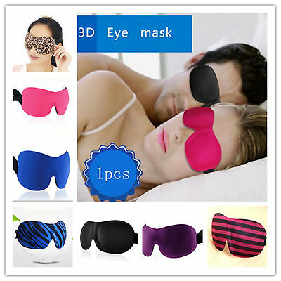 3D Eye Blindfold Shield Travel Sleeping AidMask Shade Cover Rest Sleep Eyepatch