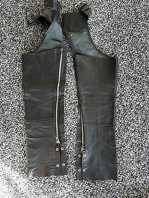 Genuine Leather Chaps 3Xs Womens Black Motorcycle Pants Chaps Biker