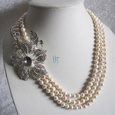 """20-23"""" 3Row 7-8 White Freshwater Pearl Necklace Zircon"""