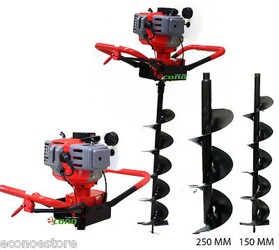 """One man 52cc 2HP Gas Power EPA Post Planting Hole Digger w/10"""" + 6"""" Auger Bits"""