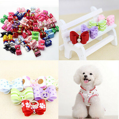 30PCS 3D Small Puppy Pet Dog Rhinestone Hair Bow Rubber Bands Grooming