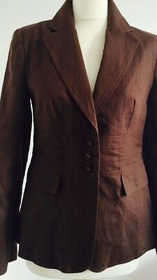 Gorgeous 90s Bitter Chocolate 100%  Linen  Blazer Jacket Size 10  M&S With Tags