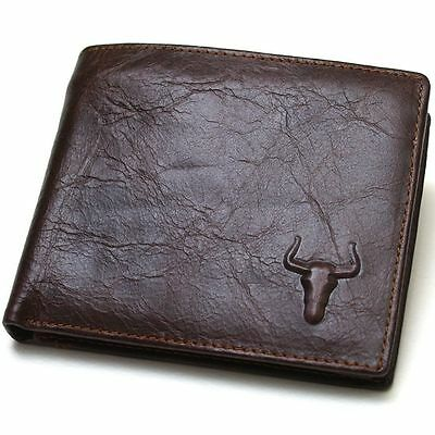 Vintage Style Purse Cow Leather Mens Wallet Zippered Coin Pocket