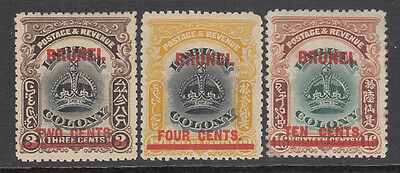 BRUNEI 1906 Surcharges to 10c mh (3) CV £23
