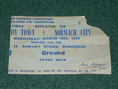Ticket 1959 FA Cup Semi Final Replay - LUTON TOWN v. NORWICH CITY