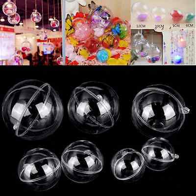 10x Christmas Tree Ball Fillable Candy Bauble Decoration Clear Plastic Ornament