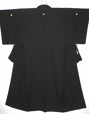 Special Top Quality Mint Monfuku All Black Japanese Quality Silk Vintage Kimono