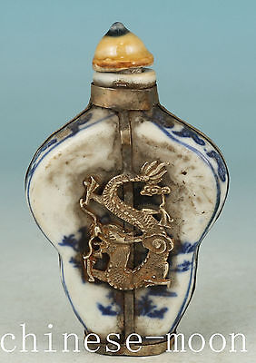 Chinese Old Porcelain Handmade Carved Dragon Statue Snuff bottle Ornament