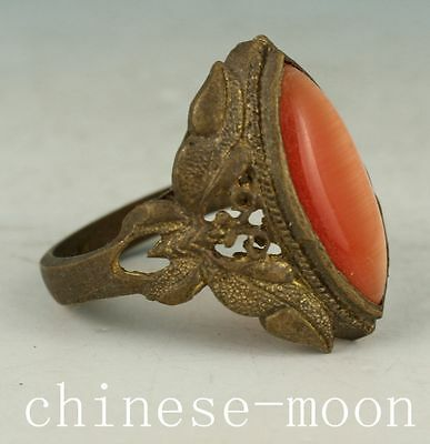 Noble Gift Chinese Old Copper Handmade Inlay Jade butterfly Statue ring Ornament
