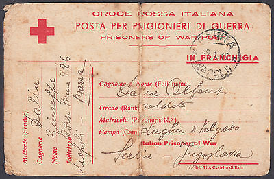1946 Italy / Italian Red Cross Postcard; US ARMY PW RELEASED Cashet; POW; Serbia