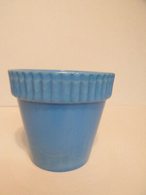 "Akro Agate Blue 4"" Flowerpot Top inside edge Ding"