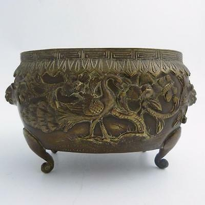 19th CENTURY CHINESE BRONZE OVAL CENSER WITH LION HEAD HANDLES