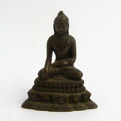 Small Chinese Solid Bronze Figure Of A Seated Buddha
