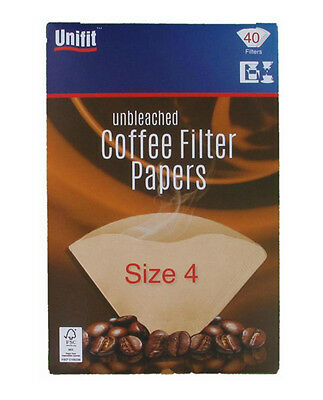 1 Pack Of 40 Unbleached Coffee Filter Paper Cones 1-4 Cups Size 4 Unifit Brand