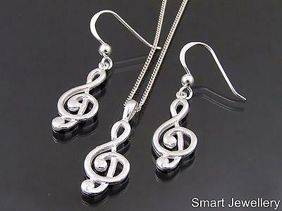 925 Sterling Silver Treble Clef Music Pendant Earring Necklace Set