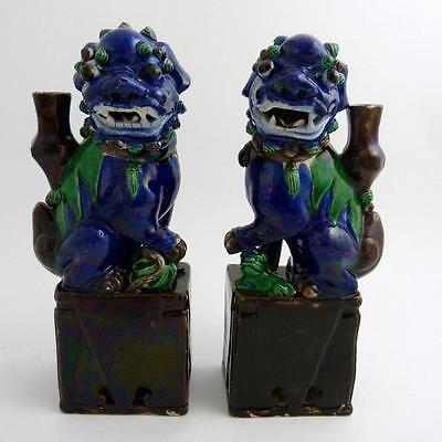 Pair Of Large Chinese Porcelain Foo Dog Joss Stick Holders, 19Th Century