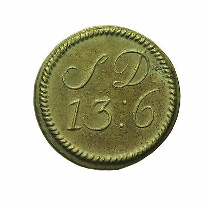 English Brass Coin Weight For Portuguese Half Moidore  S13 D6