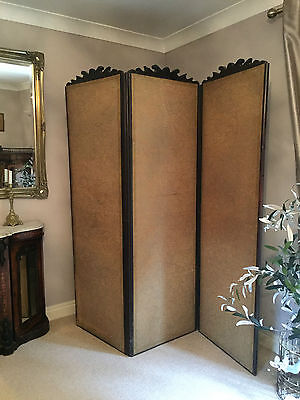 Antique 3 Panel Folding Room Divider Changing Screen Recover Project Shabby Chic