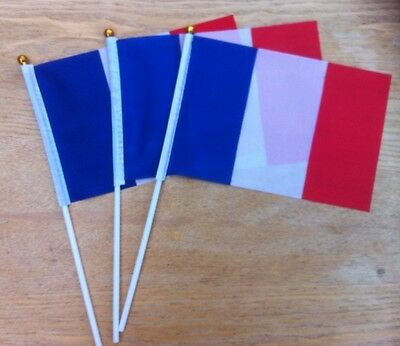 5 FRANCE French handwaving FLAGS fabric small display white plastic handled