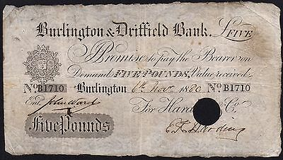 1880 BURLINGTON & DRIFFIELD BANK £5 BANKNOTE * B 1710 * aF * Outing 286s *