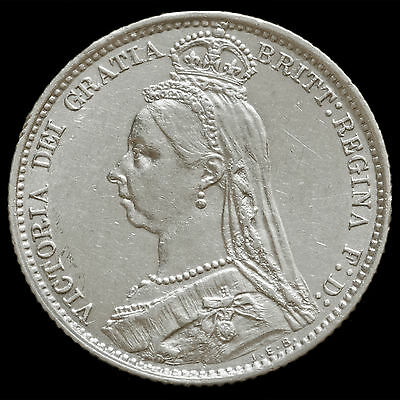 1887 Queen Victoria Jubilee Head Silver Wreath Sixpence – EF #2
