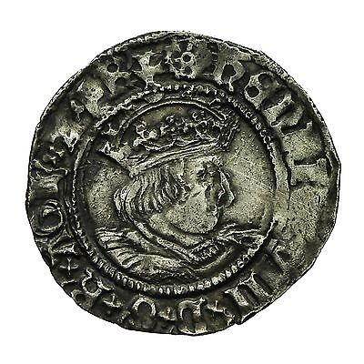 Henry Viii Hammered Silver Halfgroat  Canterbury Mint  S2345