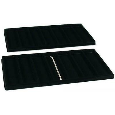 2 Black 7 Compartment Bracelet Display Tray Inserts