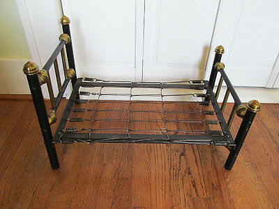 Antique Tubular Child's IRON & BRASS DOLL BED w/Springs