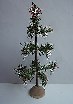 "VINTAGE 9"" tall fabric/paper made German CHRISTMAS FEATHER TREE with ornaments"