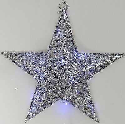 New Silver 3 d wire Star 33 cm (20 micro LED lights) INDOOR/OUTDOOR, xmas decor