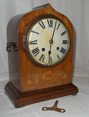 Antique GOTHIC Style SALISBURY Mantel CLOCK WIth CHIME In INLAID Case EDWARDIAN