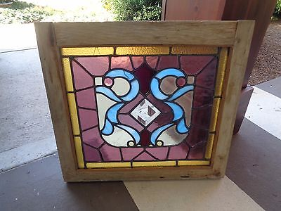 Antique Leaded Stained Slag Glass Window Shabby Wood Frame Cottage Chic ESTATE!