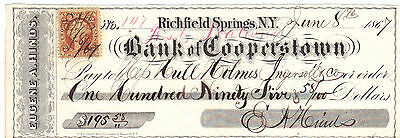 Bank of Cooperstown 1867 Check