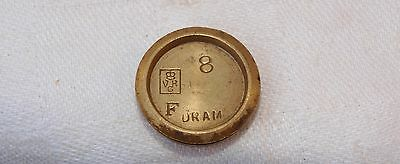 VICTORIAN BRASS 8 DRAM (1/2oz) WEIGHT - VR - FOR BIRMINGHAM & STAMPED WITH AN F