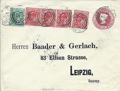 GB 1904 QV 3d Embossed P/S Cover Uprated KEVII 1d X 4 + 1/2d to Leipzig