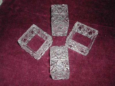 Set Of Four Glass Hobnail Cut Square Napkin Rings
