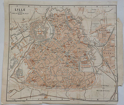 LILLE, FRANCE - BEAUTIFUL ORIGINAL 19th CENTURY LITHOGRAPH STREET MAP c.1800s