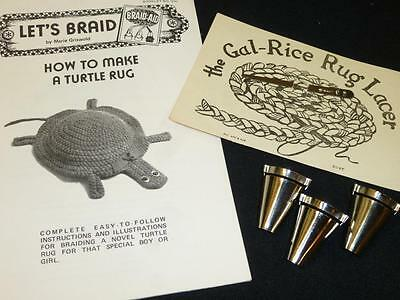 Vintage RUG BRAIDERS Set Braid Aid Gal-Rice Rug Lacer TURTLE RUG Instructions