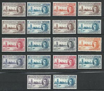 GB 1946 Great Britain colonies 9 sets Peace issue George Palace Boat MNH