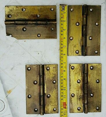 4 large antique brass door hinges