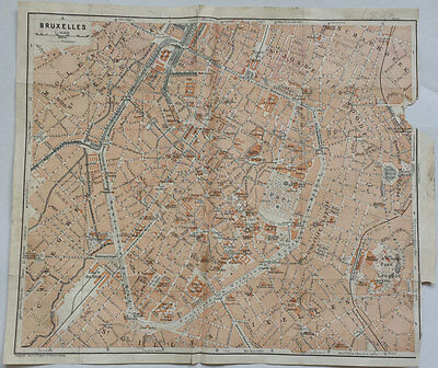 BRUSSELS, BELGIUM - BEAUTIFUL ORIGINAL 19th CENTURY LITHOGRAPH STREET MAP 1800s