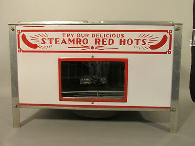 1930s STEAMRO STAR Red Hots HOT DOG Warmer RED & WHITE PORCELAIN SIGN FRONT