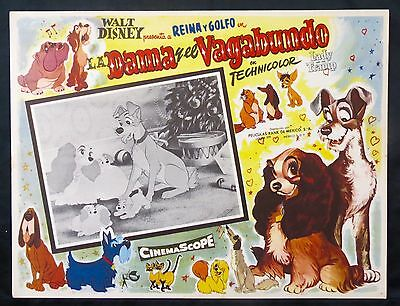 The Lady and the Tramp WALT DISNEY Classic ORIGINAL LOBBY CARD 1955 N MINT
