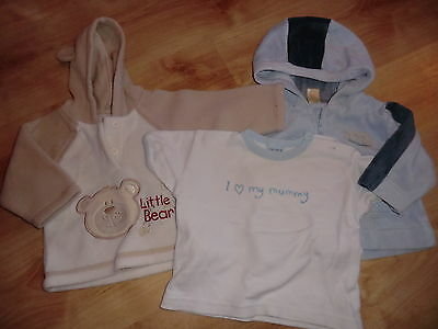 2 hoodies and a t-shirt, 0-3 months