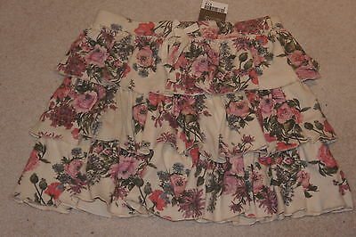 **NEW + TAGS** NEXT Cream & Pink Floral Layered Short Skirt 11 Years