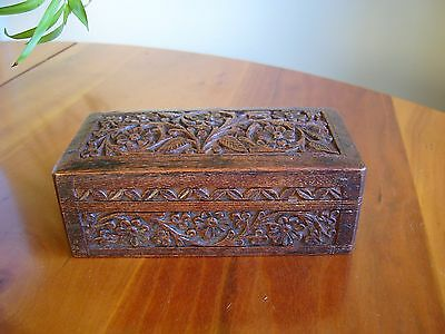 A Lovely Small Old Wooden Box With Hand Carved Floral Design.