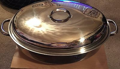 Large stainless steel high oval oven roaster, roasting pan with handles and lid