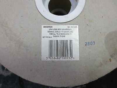 coaxial TV cable downlead for TV and FM radio 100m reel 75ohm
